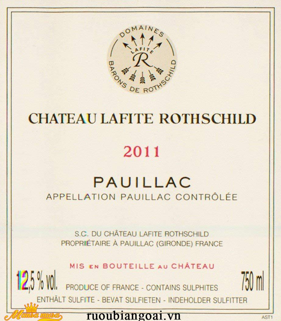Vang Chateau Lafite Rothschild Pauillac 2011