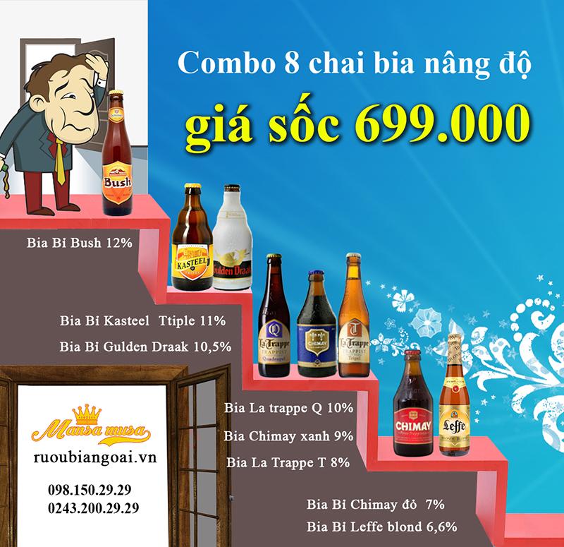 Đại tiệc Bia ngoại combo 8 chai giá sốc 699.000đ uống thả ga